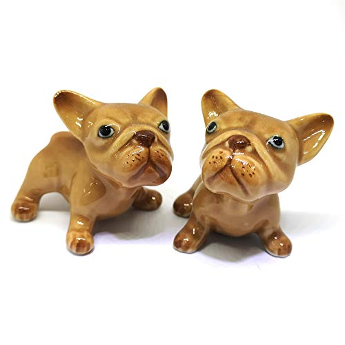 ZOOCRAFT French Bulldog Puppies Dog Brown Ceramic Figurines Porcelain Figurine Miniatures Set of 2