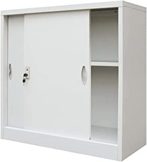 SOULONG Armoire à archives en acier, armoire de bureau avec portes coulissantes, armoire de bureau avec 2 étagères, armoir...