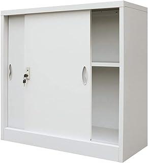 SOULONG Armoire de bureau en acier, avec portes coulissantes, armoire de vestiaire / armoire pour bureau avec 2 étagères, ...