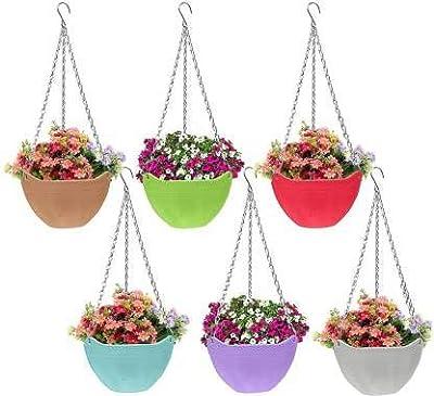 EOAN Plastic Hanging Plant Pot for Railing Flower Pots (Multicolour, Set of 5)