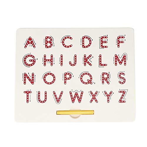 Hztyyier Magnetic Alphabet Letter Tracing Board Lernen Sie Buchstaben Magnetic Tablet Magnetic Balls Tablet Lernspielzeug(rot)