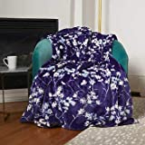 Plush Throw Blanket with Foot Pocket 60 x 70 inches Super Soft Dark Blue and White Floral Print
