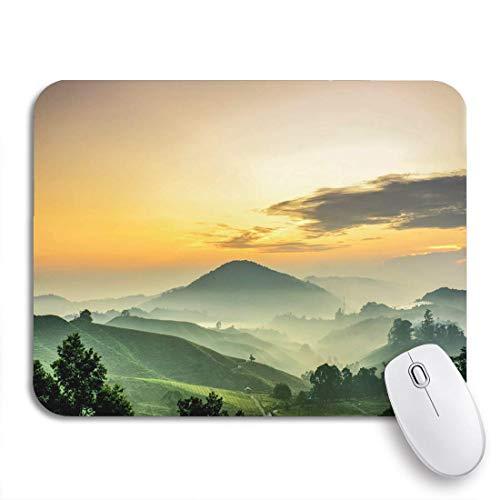 N\A Alfombrilla de ratón para Juegos Cameron Highlands Sunrise en Green Tea Farm Mountain dramático Antideslizante Soporte de Goma para computadora Alfombrilla para portátiles Alfombrillas para Mouse