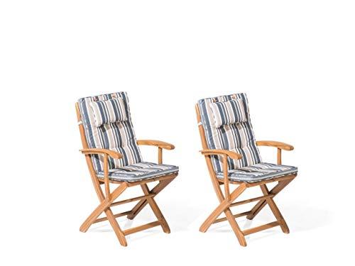 Beliani Conjunto de 2 sillas de Madera con cojín en Azul Oscuro/Beige MAUI