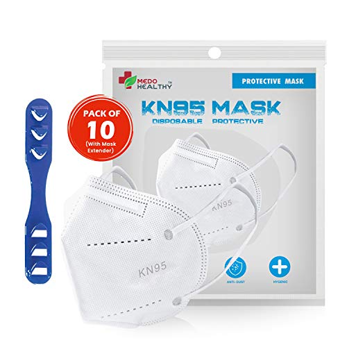 Medohealthy N95 Mask (Pack of 10), Equivalent to N95 Mask, FDA and CE Approved, Super Breathable Face Mask (Non Woven Fabric, White Colour)(With Head Mask Extender)