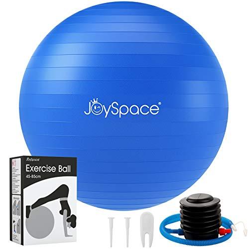 JOYSPACE Pelota de Ejercicio Anti-explosión Pelota de Pilates Fitness Yoga Embarazo Equilibrio Entrenamiento Anti-Burst Fitball Balon de Gimnasia con Bomba Rápida,55cm-Azul