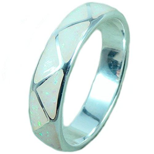 Indianerschmuck Ring aus Sterling Silber - Indianer Hochzeitsring, Opal-8: Durchmesser 18,15 mm, Umfang 57,00 mm