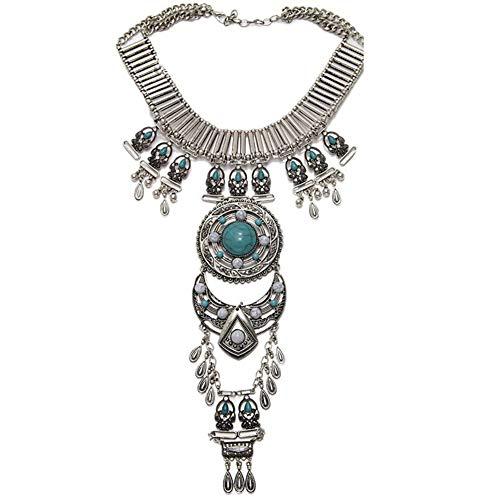 iSpchen Böhmische Halskette Vintage Retro Strass Silber Gold Türkis Lange Boho Ethnic Tribal Kette Halskette Schmuck für Hochzeitsschmuck Damen Silver