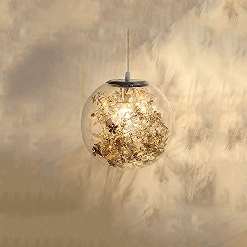 Moderne Ronde glazen hanglampen met roestvrij stalen binnen bloem, glas Opknoping Lamp voor eettafel E27 hoogte verstelbaar Hanglampen voor eetkamer en slaapkamer,Gold,B