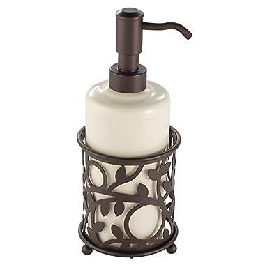InterDesign Vine Ceramic Soap & Lotion Dispenser Pump for Kitchen or Bathroom Countertops, Vanilla/Bronze