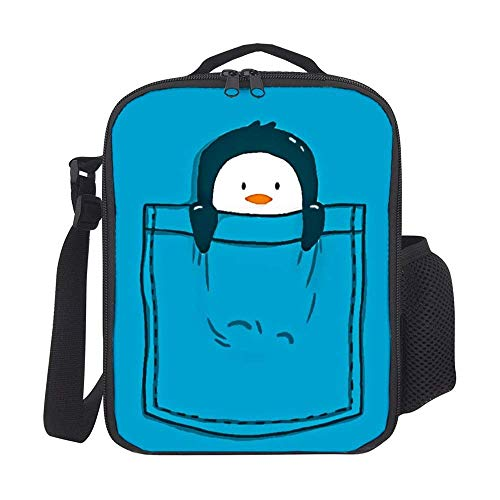 Pooizsdzzz Lunch Tote Insulated Thermal Lunch Bag Cute Sleeping Penguin Blue Lunch Backpack Lunch Box Carry Case for Adults Kids Nurse Teacher Work Outdoor Travel Picnic