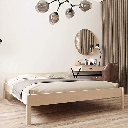 Hansales Holzbett 180x220 cm - Bis 350kg - Vollholz Doppelbett Bettgestell - Unbehandeltes FSC zertifiziertes Birken Massivholz Ehebett - mit Kopfteil
