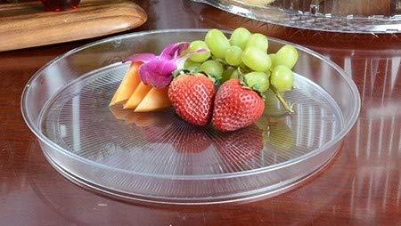 Juego de 3 bandejas de plástico duro de alto borde redondo de plástico para servir/platos de fruta, 26 cm, transparente