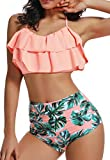 Bikini Mujer Push-up Acolchado Bra Trajes de baño una Pieza V-Cuello Vendaje Color solido1400 Rosa Small