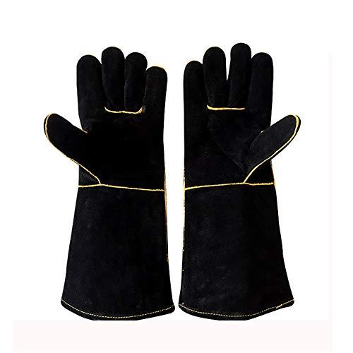 WG gesmede gelaste en gegrilde lederen handschoenen, extreem hitte/brandwerend, lange mouwen voor barbecue/open haard/tijgerlasser/grill/oven