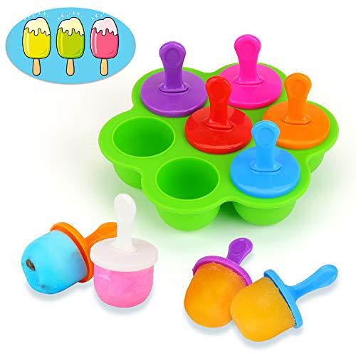 KATELUO Molde para Helados, 7 Cavidades DIY Mini Molde de Silicona para Paletas de Helado con Palitos de Plástico Coloridos, para Alimentos para Bebés, Hielo, Chocolate, Paletas de Hielo, Hela