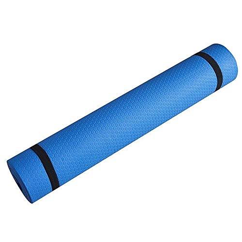 BGFS Esterilla de yoga, antideslizante, de 6 mm a 10 mm de grosor, espuma NBR cómoda para yoga, yoga y pilates (azul, 183,61 x 1 cm)