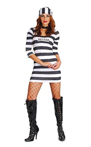 Fiori Paolo- Prigioniera Alcatraz Costume Donna Adulto, Nero, Taglia 40-42, 62023