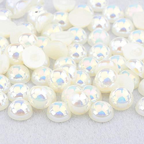 2 4 6 8 10 12 14mm Demi-Ronde Imitation Perle Noir AB Strass Perle Colle Sur Nail Art Décoration Dos Plat Perle Autocollant, Beige AB, 12mm 50 Pcs