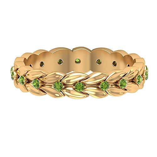 Anillo de aniversario único, anillo floral antiguo, anillo de peridoto de forma redonda de 1/4 ct, anillo de piedra natal de agosto, anillo de boda de novia, 18K Oro amarillo, Size:EU 61