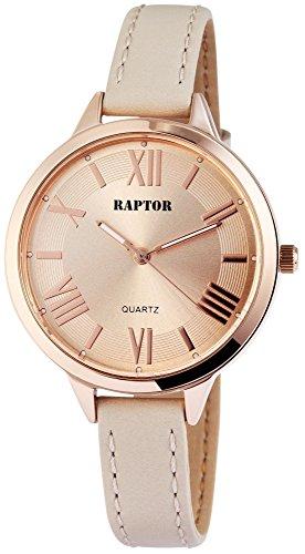 Raptor Damen - Uhr Oberseite Echt Leder Armbanduhr Dornschließe Analog Quarz RA10012