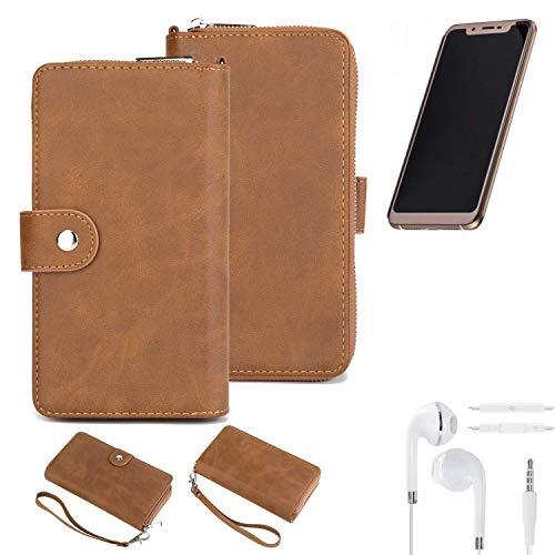 K-S-Trade® Handy-Schutz-Hülle Für Doogee V + Kopfhörer Portemonnee Tasche Wallet-Case Bookstyle-Etui Braun (1x)
