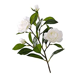 YJS Silk Flower Gardenia Vase Flower Arrangement Artificial Flower Camellia Living Room Artificial Flower (Color : White)