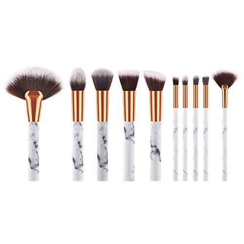 Minkissy 10 Pcs Pinceaux de Maquillage Ensembles Fond de Teint Poudre Poudre Blush Poignée en Plastique Blush Brush