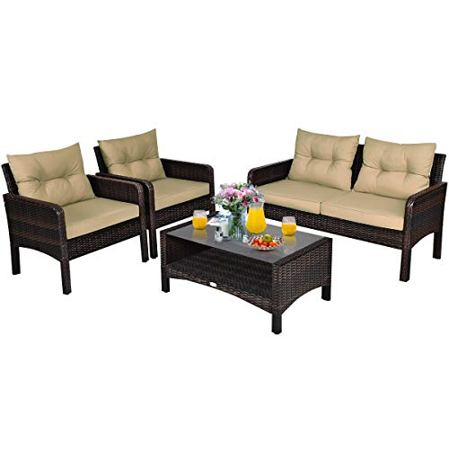 Tangkula 4 Piece Patio Furniture Set, Outdoor Wicker Conversation Set with Glass Top Coffee Table, All Weather Proof and Thick Cushions, Suitable for Porch, Garden, Poolside and Lawn (Brown)