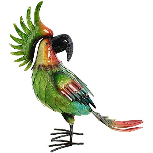 SIDCO Deko Papagei Metall Dschungel Skulptur Vogel Tierfigur Gartendeko Figur Metall