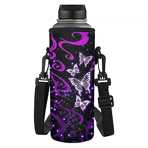 Biyejit - Portabidones de agua con mariposa morada con correa ajustable para mujeres, hombres, niñas y niños para hikinig running