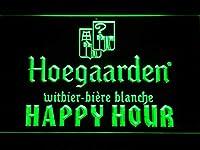 Hoegaarden Happy Hour LED看板 ネオンサイン ライト 電飾 広告用標識 W40cm x H30cm グリーン
