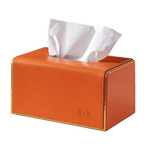 WGH Tissue Cover Holder Square Desktop Tissue Box Simple Leather Tissue Holder,Home Napkin Holder,for Bathroom or Bedroom or Office or Kitchen Tissue Box Decoration (Color : Orange)