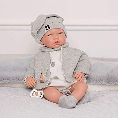 Puppen Guca - Pop Aaron met witte romper, jas met grijze rand. 46 cm Reborn, meerkleurig (883)