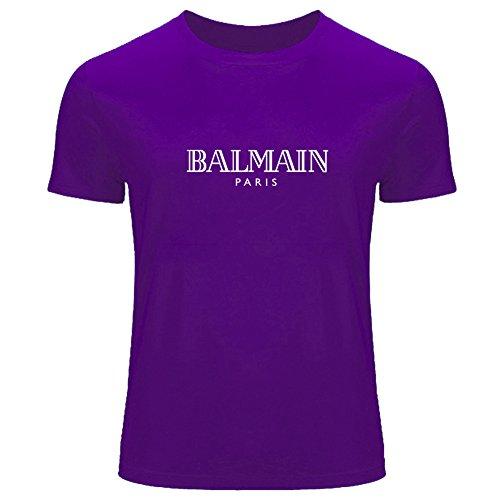Balmain - Camiseta para hombre con el logotipo de Balmain impreso Morado morado Large