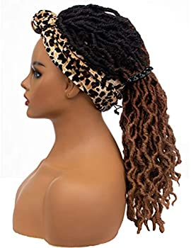 Riglamour Dreadlock Ombre Braids Wig with Headband Faux Locs Synthetic Long Wavy Braided Hair Black Ombre Brown Wigs for Women
