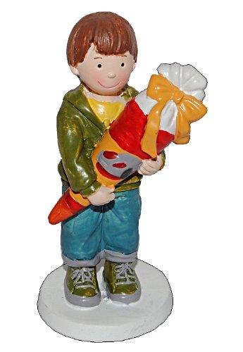 alles-meine.de GmbH 3-D Figur Junge mit Schultüte 9,5 cm - Tischdeko aus Kunstharz zur Schuleinführung Einschulung Zuckertüte Schulanfang Deko