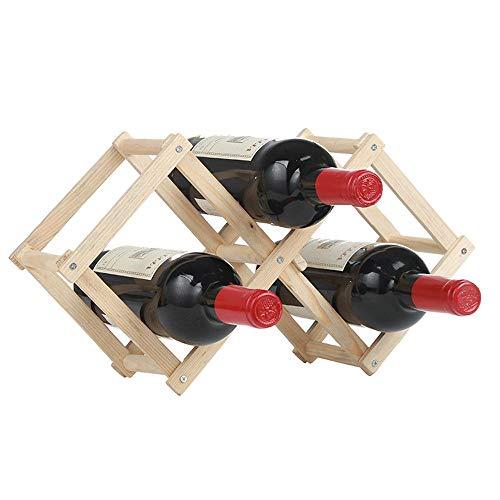 TKJG Weinständer Weinregal Stehtisch Bar Moderne minimalistische Design einfach zu montieren Zum Dekorieren Von Weinflaschen (Color : Wood, Size : 3 Bottles)