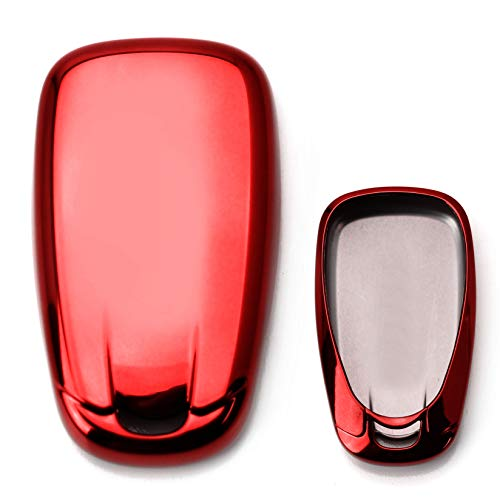 iJDMTOY Chrome Finish Red TPU Key Fob Protective Cover Case Compatible With 2016-up Chevrolet Camaro Cruze Spark Volt, 2017-up Malibu Bolt Sonic Trax, etc