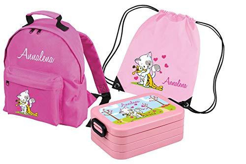 Mein Zwergenland Set 4 Kindergartenrucksack Classic und Brotdose Lunchbox Maxi + Turnbeutel mit Name Katze, 8L, Rosa