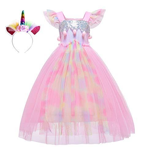 Le SSara Unicorn Sequins Vestito per Ragazze Bambini Compleanno Festa Unicorno Costume Costume con Fascia (140, D57-Pink)