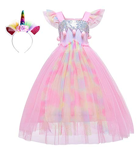 Le SSara Unicornio Lentejuelas Vestido para niñas niños cumpleaños Fiesta Unicornio Traje Traje con Diadema (110, D57-Pink)