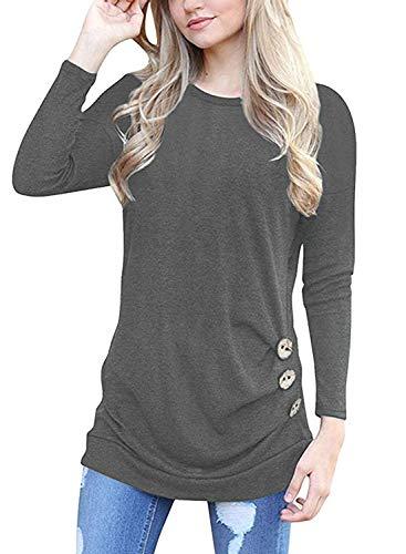 MOLERANI Women's Casual Long Sleeve Round Neck Loose Tunic T Shirt Blouse Tops Grey S
