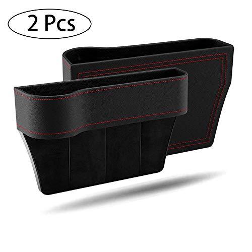 HPiano 2 Pcs Autositz Gap Aufbewahrungsbox Organizer, Autositz Side Gap Filler, Seat Crevice Slit Pockets, Seat Side Drop Catcher Tablett, PU-Leder auslaufsicherer Aufbewahrungsbox Organizer