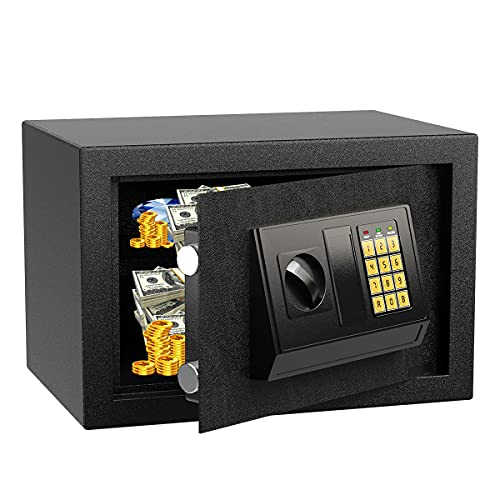 Security Safe Box Fireproof and Waterproof Home Safe Lock Box, Cabinet Safes with Keypad 0.5 Cubic...