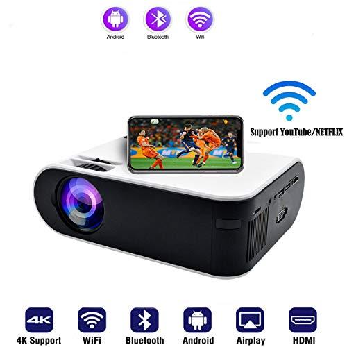 SOTEFE® Proyectore WiFi - Bluetooth Videoproyector Portátil 1080P Full HD Proyector Soporte 4K Descargar App Vídeo Película En línea para Teléfono móvil TV-Box HDMI USB TF/SD Tarjeta VGA AV Audio