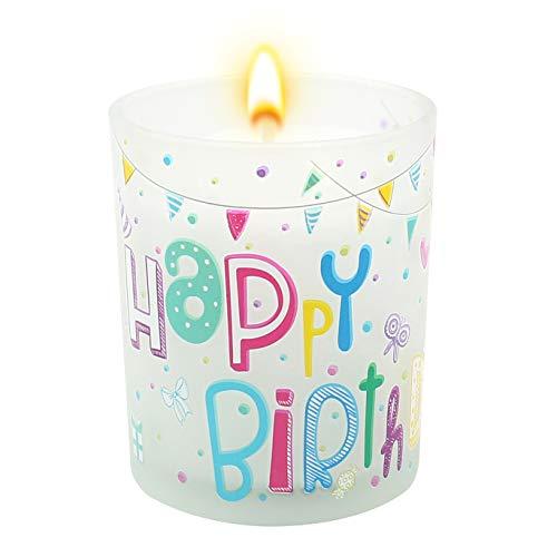 Dekohelden24 Happy Birthday Windlicht aus Glas, mit Kerze, in weiß, H/Ø: 7,5 x 6 cm.