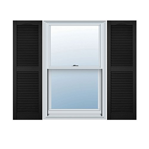 Mid America 00011455002 Standard Size Cathedral Top Center Mullion, Open Louver Shutter (Per Pair), 14 1/2