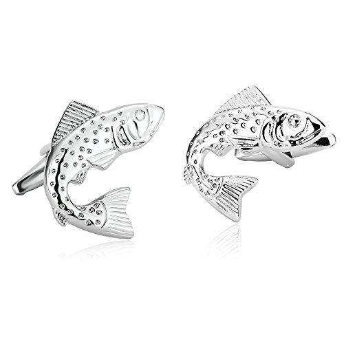 Daesar Schmuck 1 Paar Herren Edelstahl Manschettenknöpfe Silber Fisch Manschettenknopf 2.6 x 2.4 cm