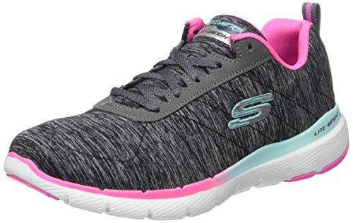 Skechers Flex Appeal 3.0, Zapatillas Mujer, Negro (Black Mesh Pink & Blue Trim Bkmt), 38 EU